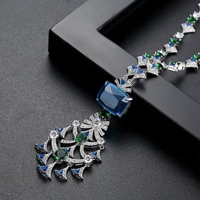 Luxury Elegant Blue Squre Stone Fan Shaped Full Paved Long Sweater Pendant Necklace 70cm For Women