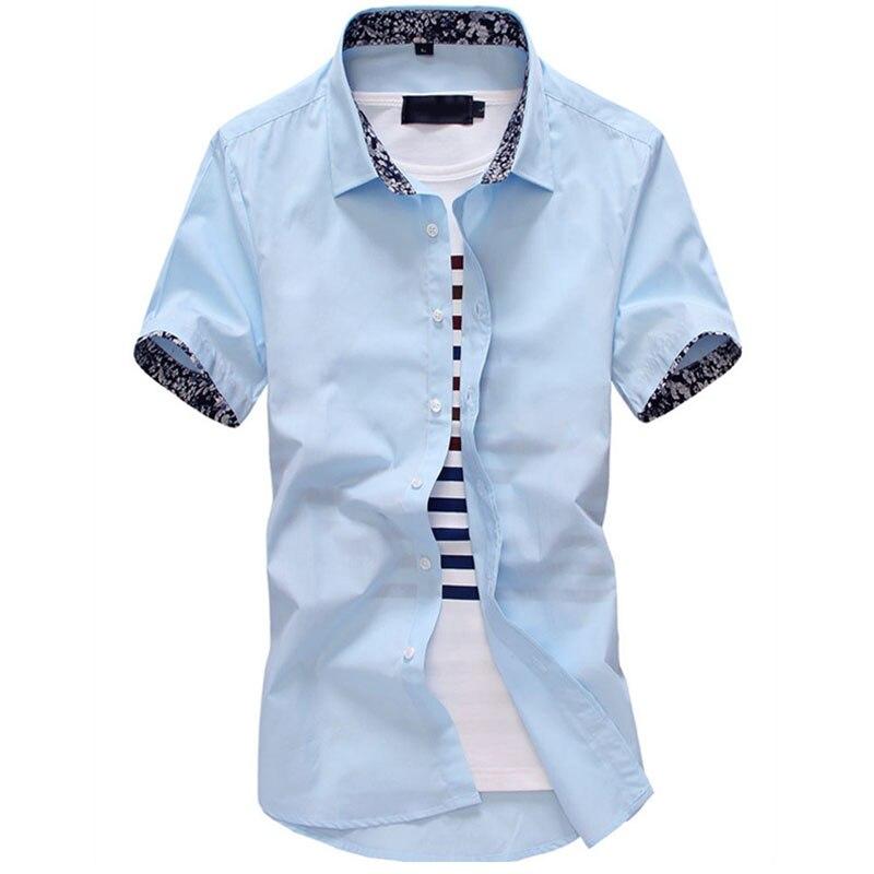 2016 Neue Marke Sommer Herren Kleid Shirts Kurzarm Casual Shirt Männer Slim Fit Design Formale Shirts Kleidung Camisa M-2xl14b