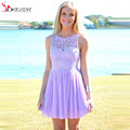 2016 Bridesmaid Dresses Lilac Chiffon Custom Made Short Lace Chiffon Cheap Low Price Wedding Party Dresses Promotion