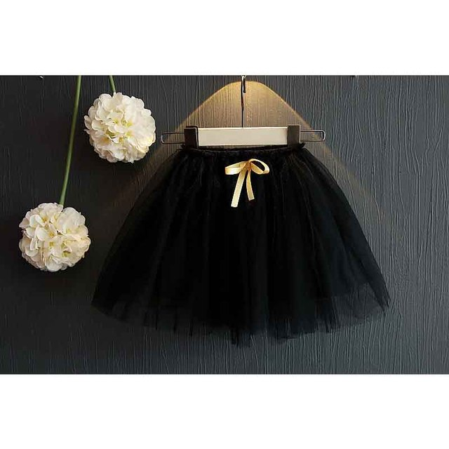 Girls skirts gold bowknot net yarn skirt Puff skirt princess skirt