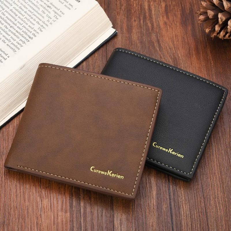 Quality New Men's PU Leather Wallets Black Colors 2 Folds Photo Bit ID Credit Card Holder Photo Bit Black Coffee Purse Wallet