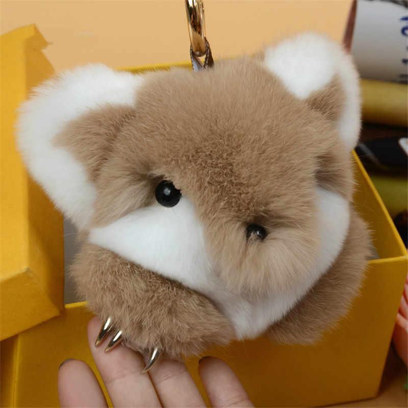 HOT 8 cor 18 cm moda monstro saco pequena raposa pele de coelho encantador chave da cadeia de charme brinquedo Pompom de pelúcia chave do carro chaveiro cadeia smal