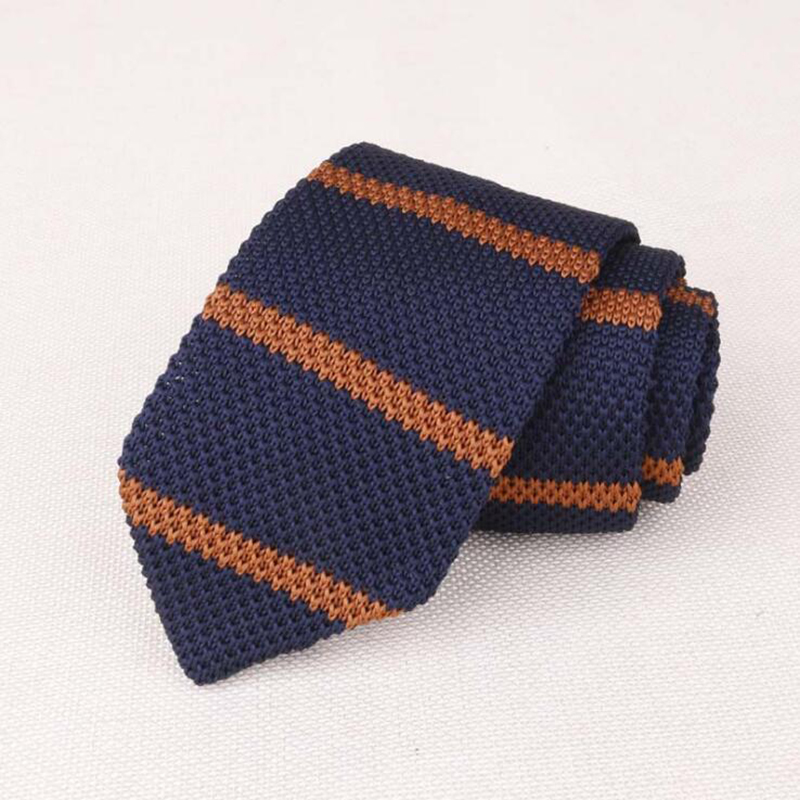 RBOCOTT Striped & Plain Knitted Tie 7 Cm Men's Slim Ties Fashion Casual Skinny Knit Tie Blue Necktie Brown For Business Wedding