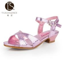T.S. enfants sandales Taille 28-36 enfants chaussures en cuir de porc appliques filles enfant Romain Enfants Promotionnel fille sandales rose or ruban
