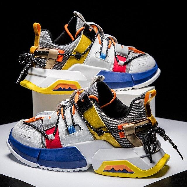 size 40 ceeb9 0af2b Frühling Männlichen Hip Hop High top Schuhe Bunte Kanye Chunky Turnschuhe  Kreuz Gebunden Tenis Casual Atmungsaktive Zapatos Hombre