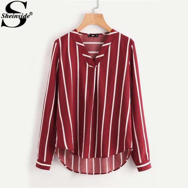 Sheinside Красный Полосатый Рабочая Рубашка V-планка изогнутые Высокая Низкая офисная блузка Для женщин с длинным рукавом Повседневное топы летние женские блузка