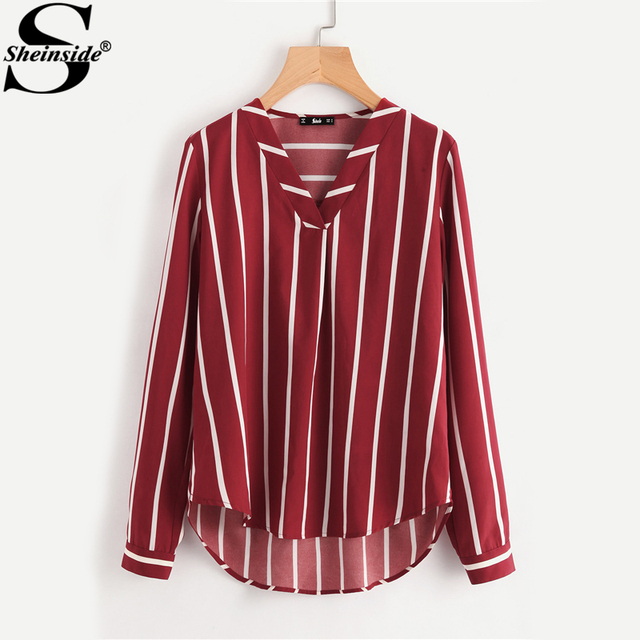 7f156de529ffa Sheinside Red Striped Work Shirt V-Placket Curved High Low Office Blouse  Women Long Sleeve Casual Tops Summer Ladies Blouse