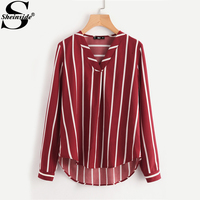 Sheinside Red Striped V Placket Curved High Low Blouse Women V Neck Long Sleeve Casual Tops