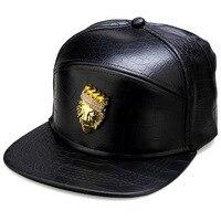 Crown Lion Head Logo High Quality Fashion PU Hip Hop Full Cap For Men Women Lindy