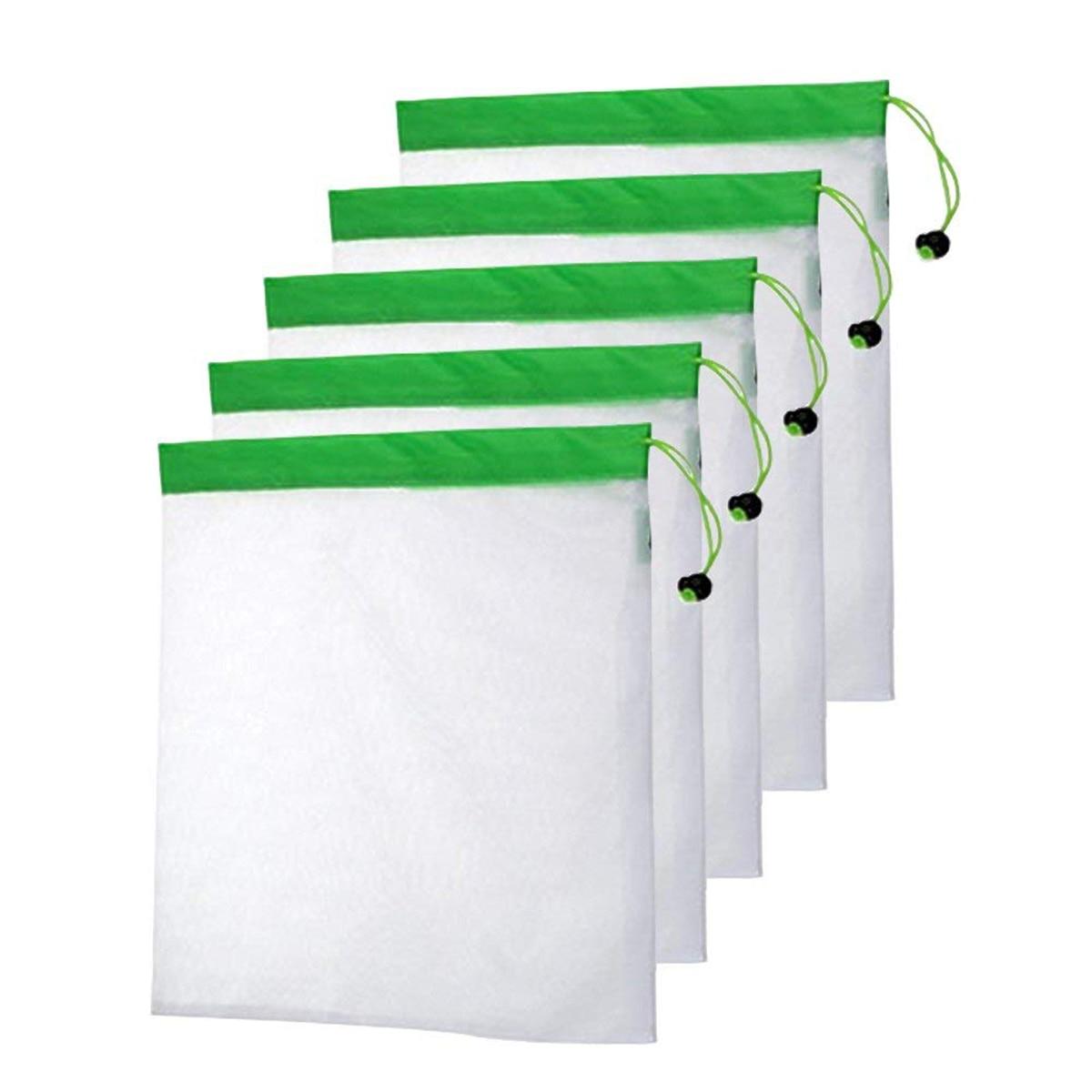 DCOS 5PCS/Set Polyester Washable Reusable Produce Bags, Eco-friendly Soft Premium Lightweight Vegetable Drawstring Storage Net