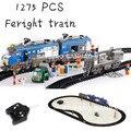 Kit de construcción modelo compatible con lego Trenes de Carga de tráfico ferroviario 3D modelo de construcción bloques Educativos juguetes y pasatiempos para niños