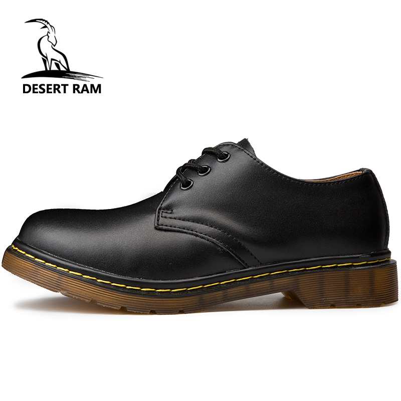 DESERT RAM Brand Men's Boots Plus Size 35-46 New Martens Casual Leather Doc Martins Boots Mens Military Shoes Work Safety Shoe