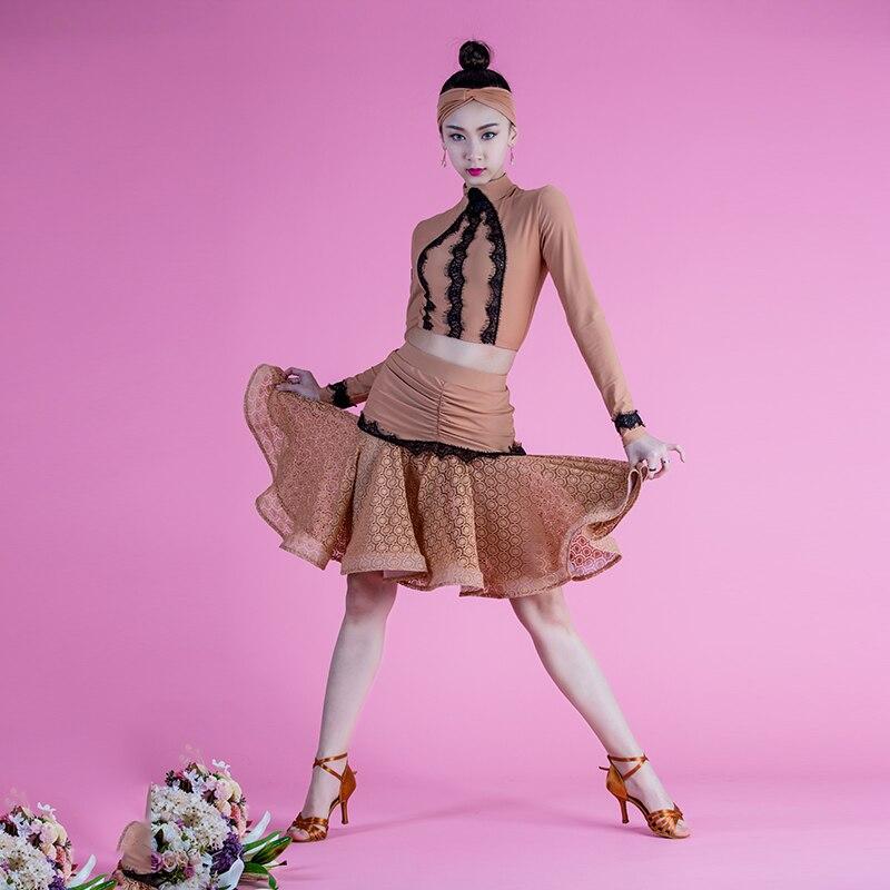 2017 Latin dance costumes children new fishbone bust lace long sleeve font b blouse b font
