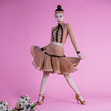 2017 Latin dance costumes children new fishbone bust lace long sleeve blouse top and skirt set for girl 130-165cm height