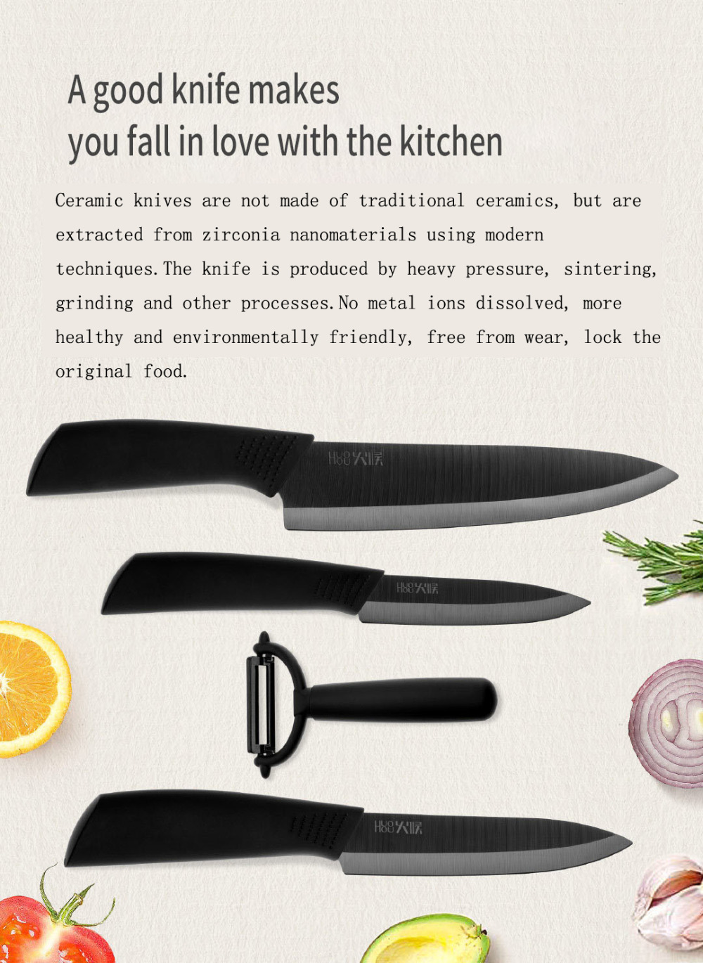 Nano Ceramic Knife Xiaomi Mijia Original Huo Hou Kitchen Set 4 PCS Nano-ceramic knife 4 6 8 Inch Furnace Thinner Environmental (2)