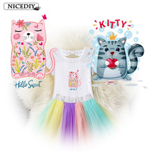 Nicediy Iron on Transfers For Clothes T-Shirt Lovely Cat Animal Patches Heart Stickers Girl Kids DIY Badge