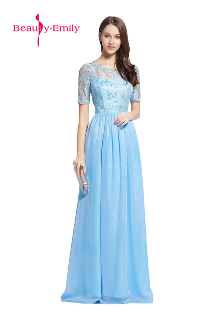 b3fa5e89aa24 2018 Sweet color Fairy style Light Blue Chiffon Prom Gown Lace-up Pattern Long  dress for Homecoming party Evening dresses