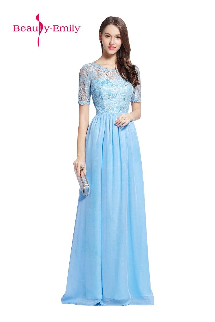 2018 süße farbe Fairy style Hellblau Chiffon Abendkleid Lace up ...