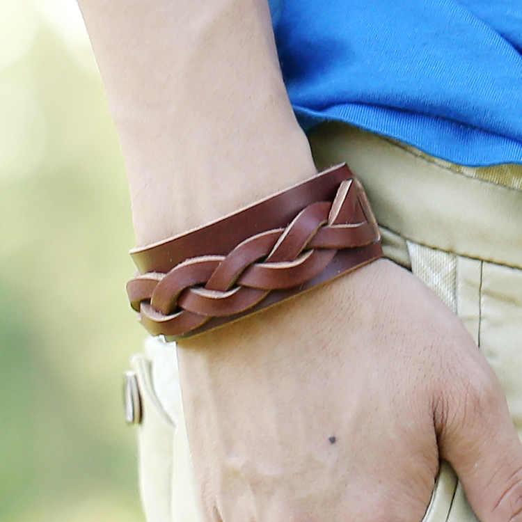 Prawdziwej skóry brązowy podwójne warstwy pleciony Wrap Punk bransoletki dla mężczyzn New Arrival regulowany kobiet w stylu Vintage bransoletki