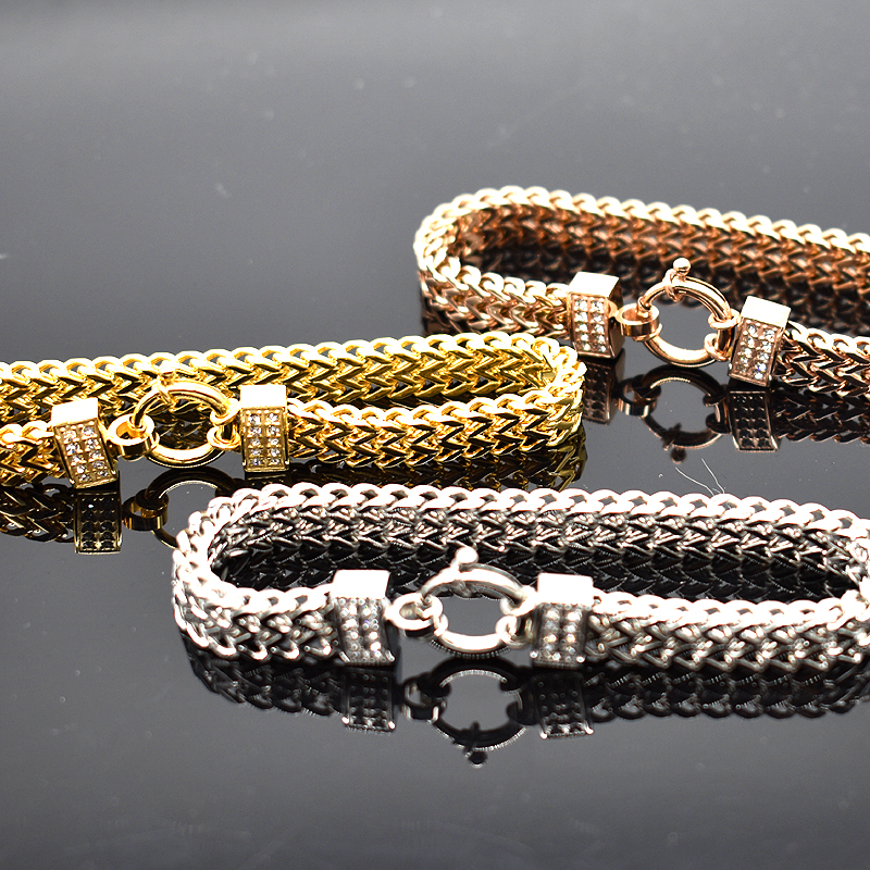 AMUMIU New Arrival Flat Snake Chain Stainless Steel Bracelet Rose Gold Color For Men Women Charming Jewellery HB099 charming glaze tube shape bracelet for men