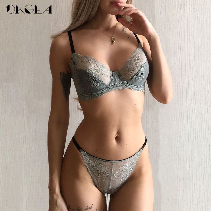 Fashion Pink Bra Set Transparent Brassiere Embroidery Women Lingerie Set Ultrathin Lace White Underwear Sets Sexy Bras B C D Cup