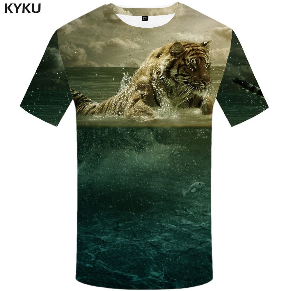 KYKU Tiger T shirt Water Clothes Cloud shirts Animal Plus Size Tshirt Clothing Men Print Hip hop Summer Homme