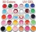 2018 30 Unids Puro Color Sólido UV del Gel Del Constructor Del Arte Del Clavo Falso Francés Completo Consejos Salon, HB-UVGel