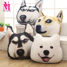 Vanmajor New Hot 3D 38cm*35cm Samoyed Husky Dog Plush Toys Dolls Stuffed Animal Pillow Sofa Car Decorative Creative Birthday Gif