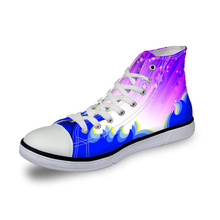 Noisydesigns Girls sneakers women casual vintage vulcanized shoes high top footwear blue purple star 3D print flat canvas shoes instntarts universe star women casual flats shoes cool animal purple wolf print woman s high top vulcanize canvas shoes sneakers