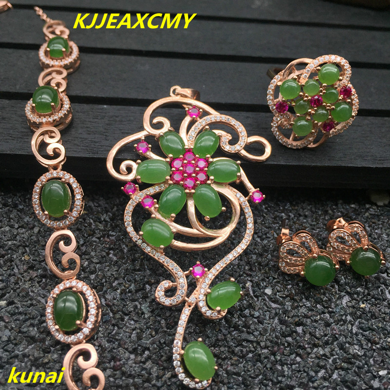 KJJEAXCMY boutique jewels 925 pure silver inlaid with natural Jasper women ring, pendant earring bracelet and 4 suit necklaces