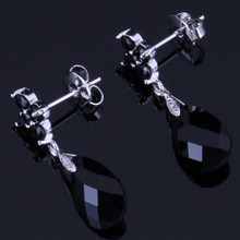 Cute Water Drop Black Cubic Zirconia 925 Sterling Silver Dangle Earrings For Women V1032