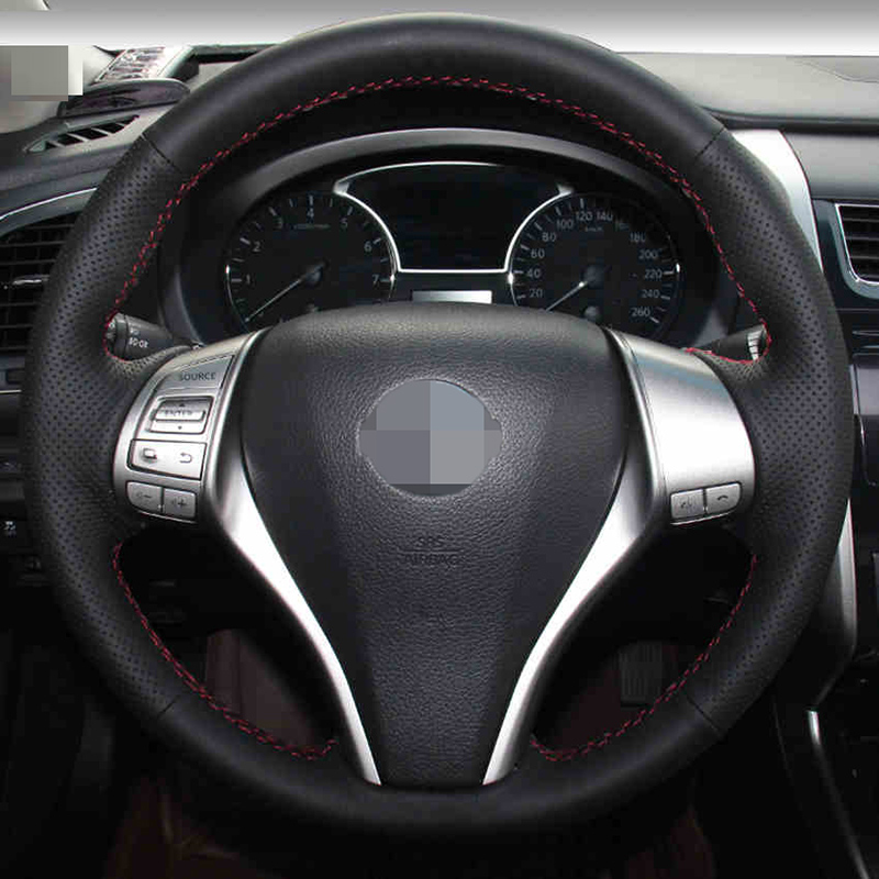 Hand-stitched BlackArtificial Leather Steering Wheel Cover for Nissan - Aksesori dalaman kereta - Foto 3