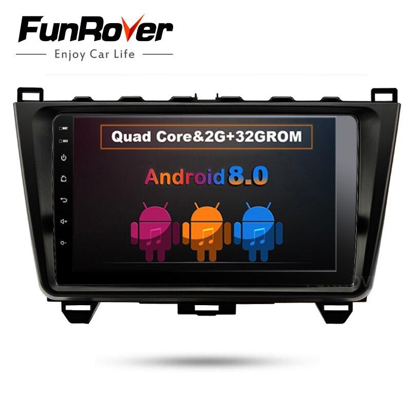 Funrover 9 2 din Автомобильный dvd плеер мультимедиа для MAZDA 6 2008 2015 мазда 6 android 8,0 gps стерео головное устройство радио dvr obd2 wifi rds