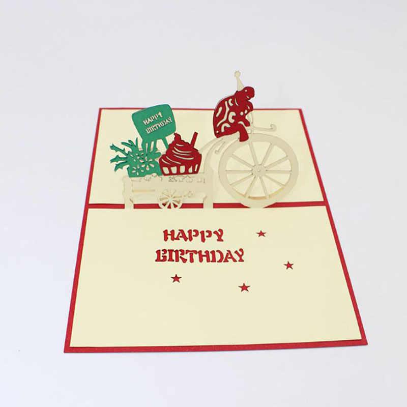 Tarjeta De Felicitación Creativa 3d Invitación Hecha A Mano Sobre Regalos Para Chico Y Chica Bebé Dibujo Animado Que Da Regalo Niños Fiesta De