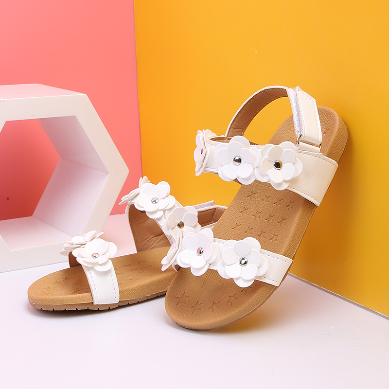 2019 New Summer Children Sandals for Girls Soft Leather Flowers Princess Girl Shoes Kids Beach Sandals Baby Toddler Shoes
