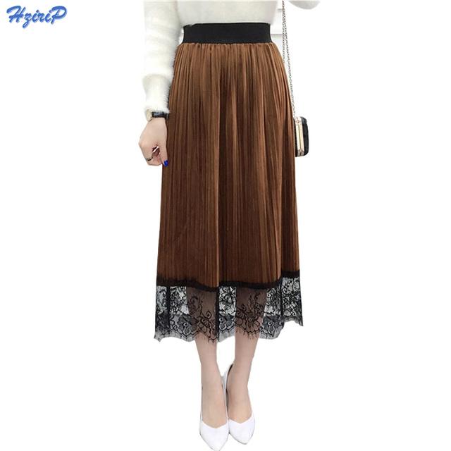 La moda de Nueva 2016 Mujeres Del Invierno Del Otoño de Terciopelo de Oro Muchachas de La Falda Plisada Falda Elástico de Cintura Alta Costura de Encaje Sexy Faldas Para Mujer