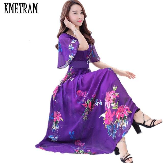 KMETRAM High Quality Faux Silk Maxi Dress Women Elegant Summer Long Elbise  Beach Party Dresses Slim Robe Femme Ete 2017 YJZ212 9c8af96cdcad