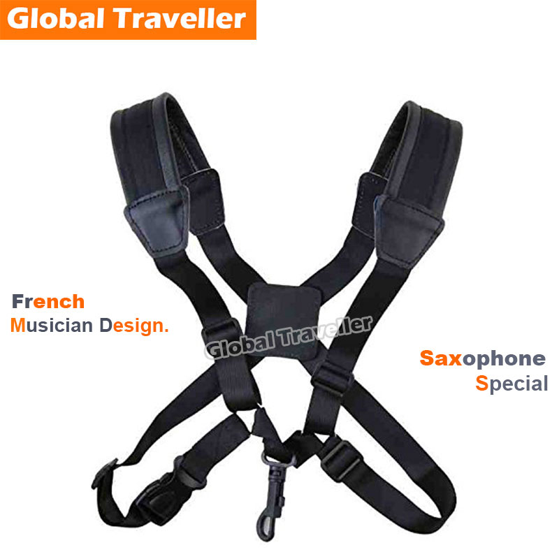 Adult Child Sax Strap Leder Sax Schulterriemen Harness Metall / Lock Hook Soft Saxphone Strap für Alto & Tenor Saxophon