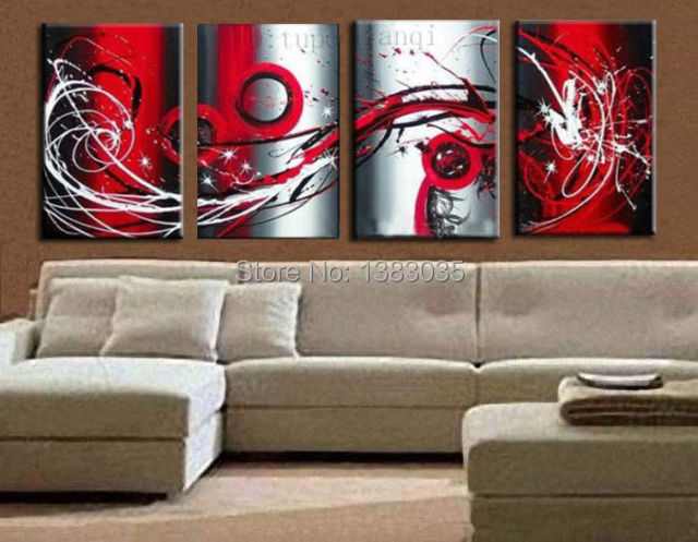 Hand Painted Modern Abstract Wall Canvas Art Oil Painting Black White Red  Wall Art 4pcs Home Decor Picture Sets In Painting U0026 Calligraphy From Home U0026  Garden ...