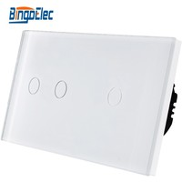 Three Color EU Standard Big 3 Gang Soft Touch Button Switch Toughened Glass Panel Switch AC110
