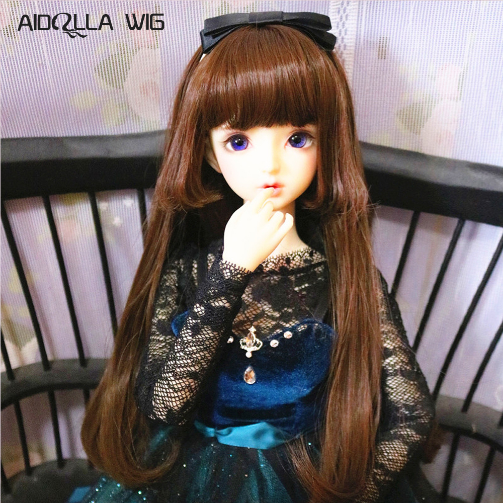 High Temperature Fiber Synthetic Khaki Medium Long Straight Girl Doll Hair For 1/3 1/4 1/6 BJD SD On Sale In AIDOLLA