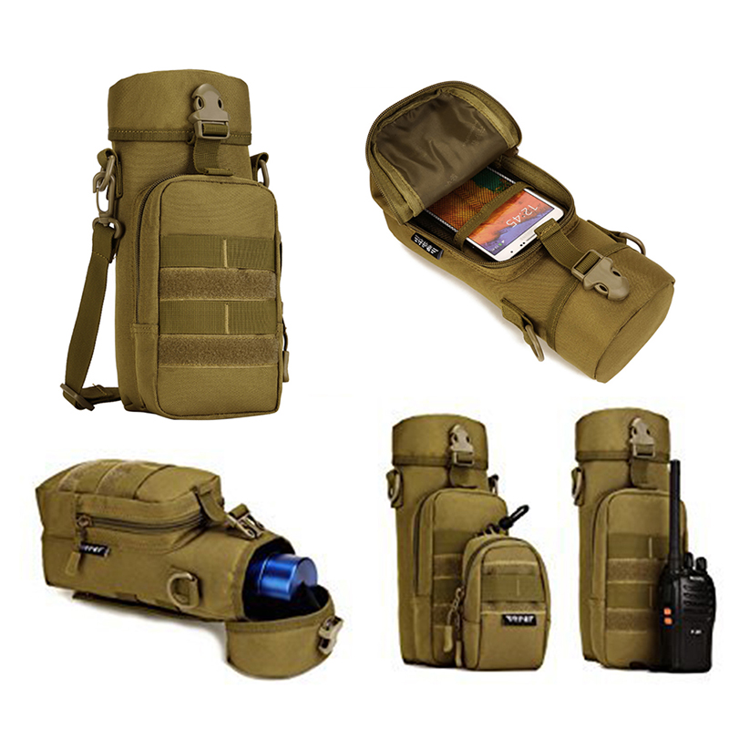 Military  Outdoor  Water Bottle Pouch Holder Tactical Kettle Gear Molle Pack Bag for Travel Camping Trekking