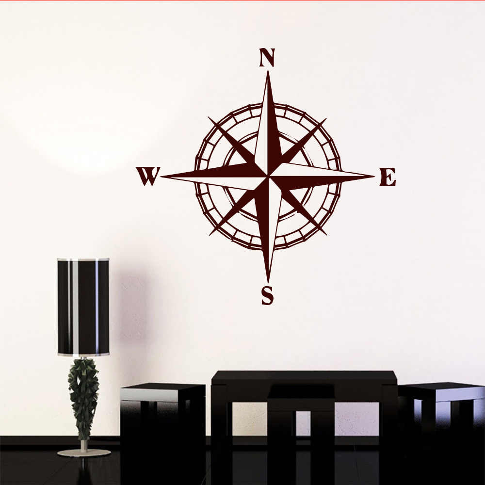 Wall Stickers Mondo.Art Mondo Compass Sticker For Automobile Decoration For Bedroom Decoration Accessories Stickers World Map Compass Wall Decals