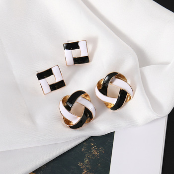 HOSEWYE Korean Hot Women Vintage Charming Black and White Simple Geometric Square Round Hollow Stud Earrings Jewelry Gift