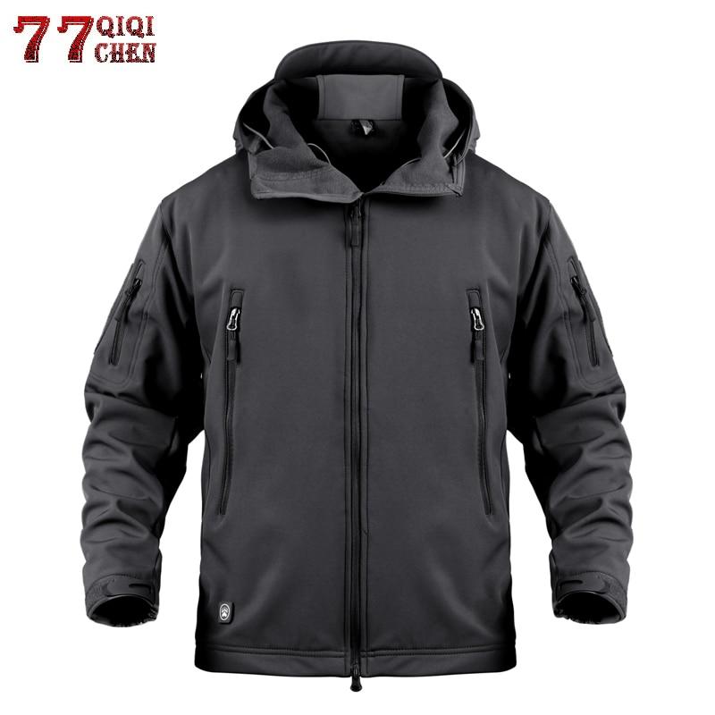 Wasserdicht Winddicht Soft Shell Military Camouflage Jacken Männer Mit Kapuze Winter Warme SoftShell Taktische Fleece Flug Jacke Männer