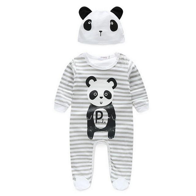 Moda Ropa de Bebé Footie Encantador Animal Impreso con Sombrero Niños Niñas Traje de Niño Niños Crawling Ropa de Navidad Mono