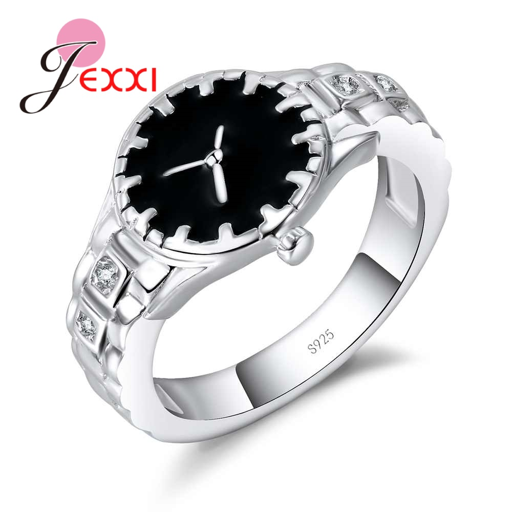 Novelty Watch Look Finger Ring for Women Men 925 Sterling Silver Black Enamel Bague Jewelry Christmas Party Accessories