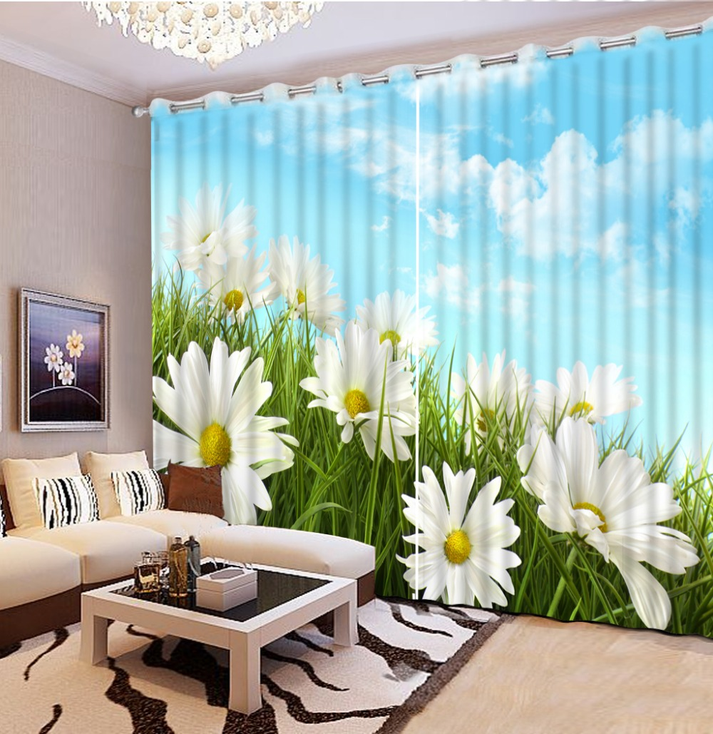 3D Print White Flower Sky Blackout 3D Curtains Modern