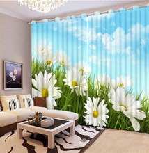 3D Print White Flower Sky Blackout 3D Curtains Modern Luxury Curtains For Living Room Bedroom Hotel Cafe , Office Sofa