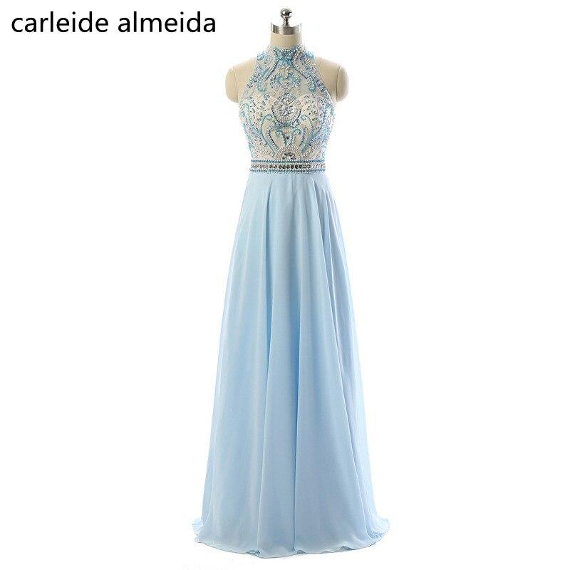 A-Line Chiffon   Prom     Dresses   Sky Blue Vestidos de fiesta largos elegantes de gala Heavy Bead Bodice Vestido formatura